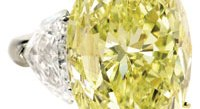 Oval fancy vivid yellow internally flawless diamond ring, 36.99 carats. Sold at Sotheby's in December 2008 for $2.65 million.