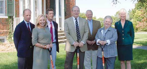 "The recent groundbreaking for the $4.4 million 13,000-square foot National Sporting Art Museum. Turner Reuter, Jacqueline Ohrstrom, Clarke Ohrstrom, Manuel Johnson, Charles Akre, Jacqueline Mars, and Betsee Parker at the 1804 Federal brick Vine Hillon the west edge of Middleburg. The center will open in 2011 with ""Afield in America: Four Hundred Years of Animal and Sporting Art, 1585- 1985.""(Photo courtesy of the Sporting Library by Dee Dee Hubbard)"