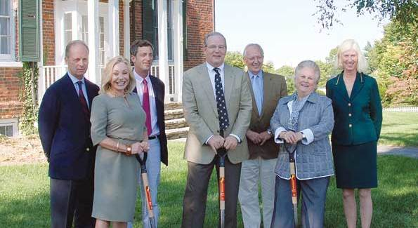 """The recent groundbreaking for the $4.4 million 13,000-square foot National Sporting Art Museum. Turner Reuter, Jacqueline Ohrstrom, Clarke Ohrstrom, Manuel Johnson, Charles Akre, Jacqueline Mars, and Betsee Parker at the 1804 Federal brick Vine Hillon the west edge of Middleburg. The center will open in 2011 with """"Afield in America: Four Hundred Years of Animal and Sporting Art, 1585- 1985.""""(Photo courtesy of the Sporting Library by Dee Dee Hubbard)"""