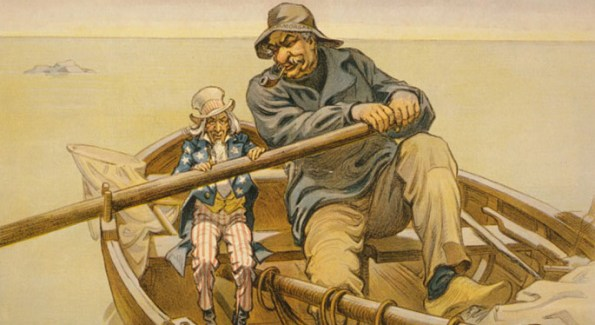 "JP Morgan's influence over global affairs rivaled and often surpassed that of governments, illustrated here in a paradoy of  Emile Renouf's ""A Helping Hand"" - The Financial Panic of 1907 ended when JP Morgan Sr. (from his library) orchestrated massive amounts of capital into banks, saving the American credit system."