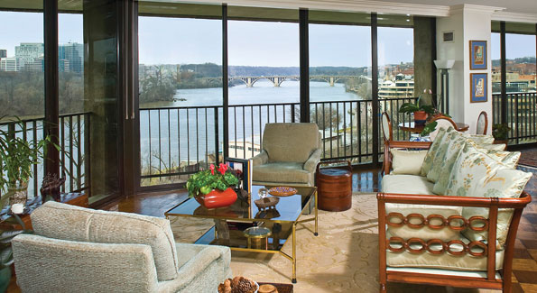 """The Watergate West apartment bought by Robert C. """"Bud"""" McFarlane boasts expansive Potomac views."""