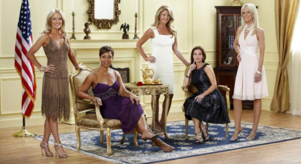 The Real Housewives of DC: (l-r) Catherine Ommanney, Stacie Turner, Mary Amons, Lynda Erkiletian, and Michaele Salahi.  Photo from Bravo/NBC Universal