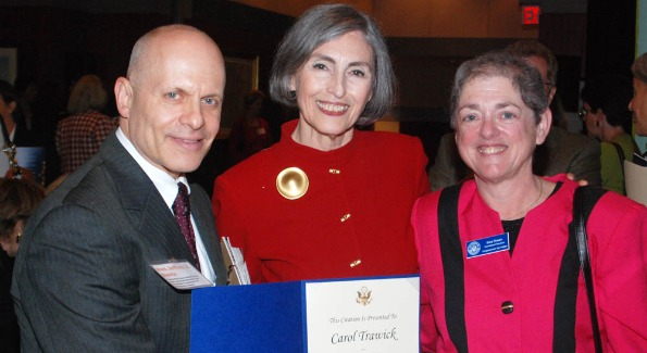 From left:  Hon. Jeffrey Slavin, Carol Trawick, Sara Rosen.