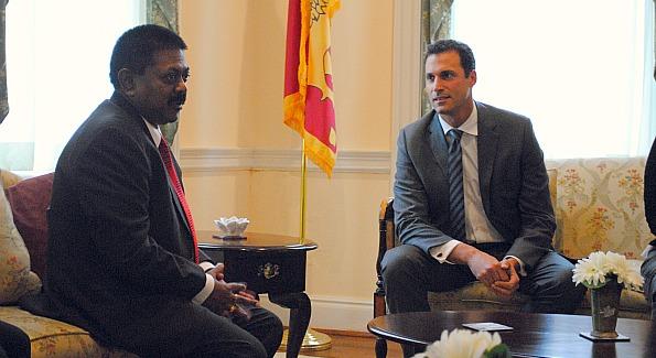 Nigel Barker visited with Sri Lankan Ambassador Jaliya Wickramasuriya before his exclusive Washington Life sponsored book signing at Eden Lounge.