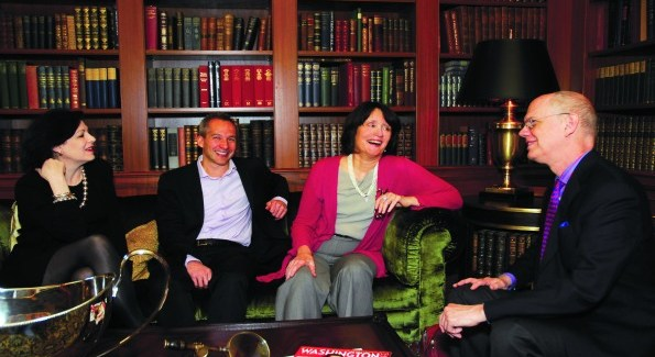 A very proper chat over tea at the Jefferson Hotel with Roxanne Roberts (The Washington Post), Winston Bao Lord (co-founder, Venga), Susan Watters (Women's Wear Daily) and Kevin Chaffee (Washington Life). (Photo by Kyle Samperton)
