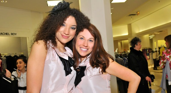 THE Artist Agency Model Ivy and Saks Tysons Marketing Director Heather Shaw Menis pose in matching outfits. Photo courtesy of Saks.