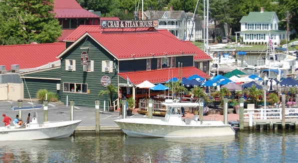 Drinks on the waterfront deck are a perfect way to spend an afternoon in St. Michaels.