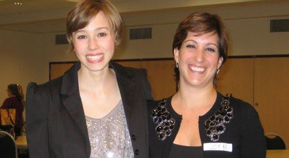 Montana DeBor (left), Borromeo Housing's Volunteer Artist in Residence with Executive Director, Joy Myers at the 2011 Art Show reception.