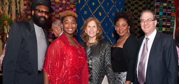 Guests of Sandra Izsadore (Fela Kuti's wife) at the FELA! Opening Night reception, Ruth Hendel (producer), Sandra Izsadore (Fela Kuti's wife) and Steve Hendel (producer). Photo by Kevin Allen.