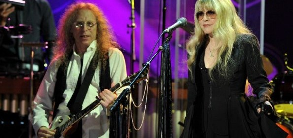 "Waddy Wachtel and Stevie Nicks Performing onstage for ""Buddy Holly: Listen To Me"" in Hollywood, CA. (Photo curtesy of Lester Cohen/WireImage.)"