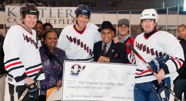 John Kerry at the Congressional Hockey Challenge. (Photo courtesy of Congressional Hockey Challenge)