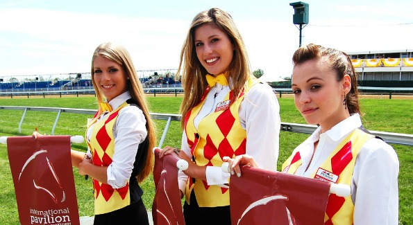 The welcoming committee at the International Pavilion at The Preakness in May, 2011. Photo by John Arundel.