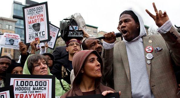 A New York City rally in honor of Trayvon Martin. (AP Photo by John Minchillo)