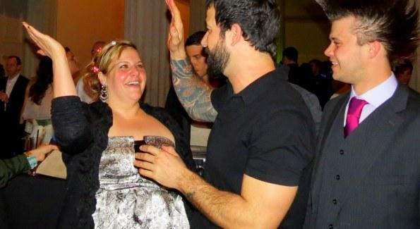 Joe Ambrose celebrates his big ARTini win. Photo by Fran Holuba.