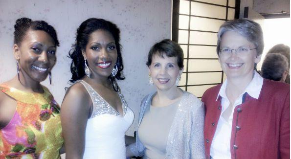 L to R:  Jasmine Bridges, J'nai Bridges, Kennedy Center Board Member Adrienne Arsht and Christina Scheppelmann (Photo by Patrick D. McCoy)