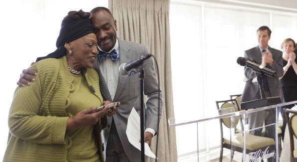 Jessye Norman accepted the Ambassador of the Arts Award from WPAS Chairman Reginald Van Lee at the Washington Performing Arts Society Inauguration Weekend Brunch. (Photo by Shealah Craighead)