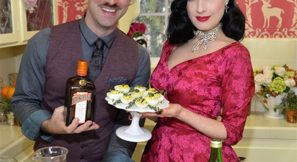 Kyle Ford and Dita Von Teese gave participants tips for Cointreau-based holiday cocktails. Photo courtesy of Cointreau.