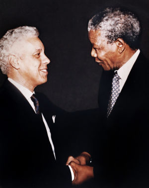 The Honorable Douglas Wilder greets South African President Nelson Mandela in 1994 (Photo Courtesy of Douglas Wilder)