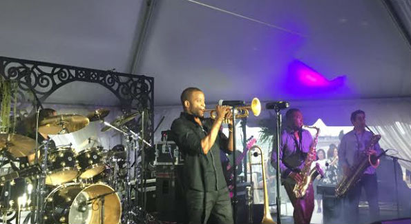 Trombone Shorty & New Orleans Avenue performing at the charity concert for the Duke Ellington School of the Arts on June 23.
