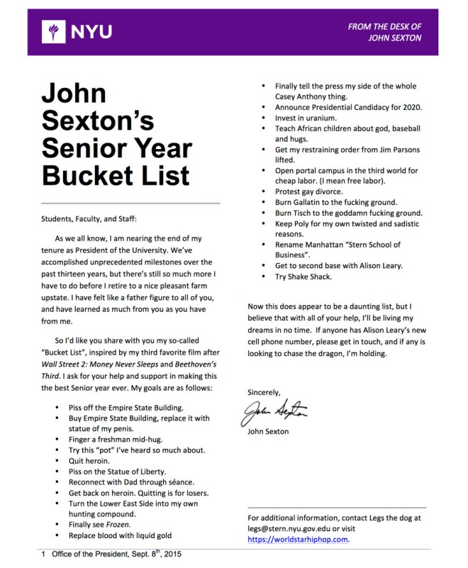John Sexton's Senior Year Bucket List