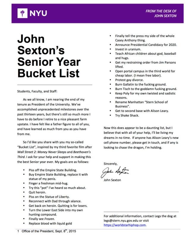 John Sexton's Senior Year Bucket List