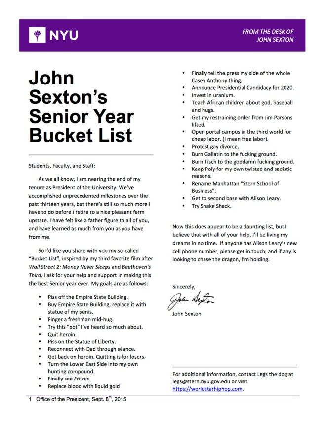 John Sexton Bucket List