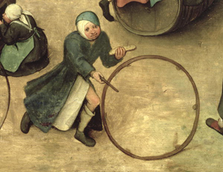 XAM93755 Children's Games (Kinderspiele): detail of a child with a stick and hoop, 1560 (oil on panel) (detail of 68945) by Bruegel, Pieter the Elder (c.1525-69); Kunsthistorisches Museum, Vienna, Austria; Ali Meyer; Flemish,  out of copyright