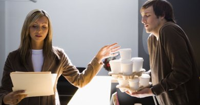 intern serves coffee