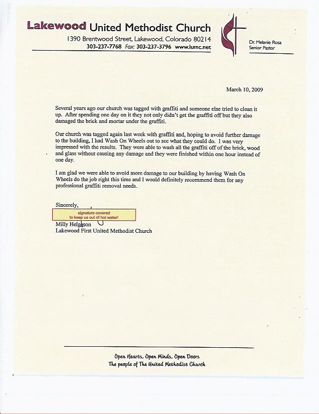 Lakewood-United-Methodist-Church-Endorsement-Letter - Denver - endorsement letter