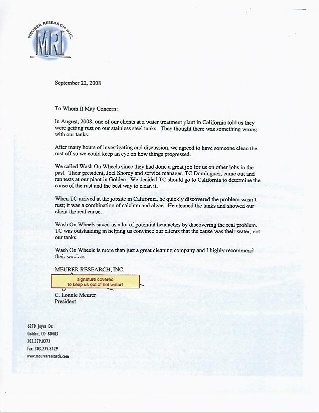 Meurer-Research-Endorsement-Letter - Denver Pressure Washing Service - endorsement letter