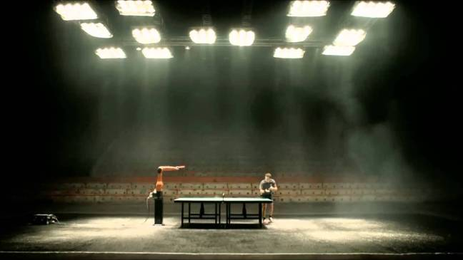 tabletennis robot vs man