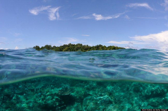Sipadan Island and coral reef (split shot)