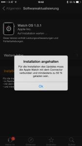 Anforderungen für die Installation von Watch OS 1.0.1