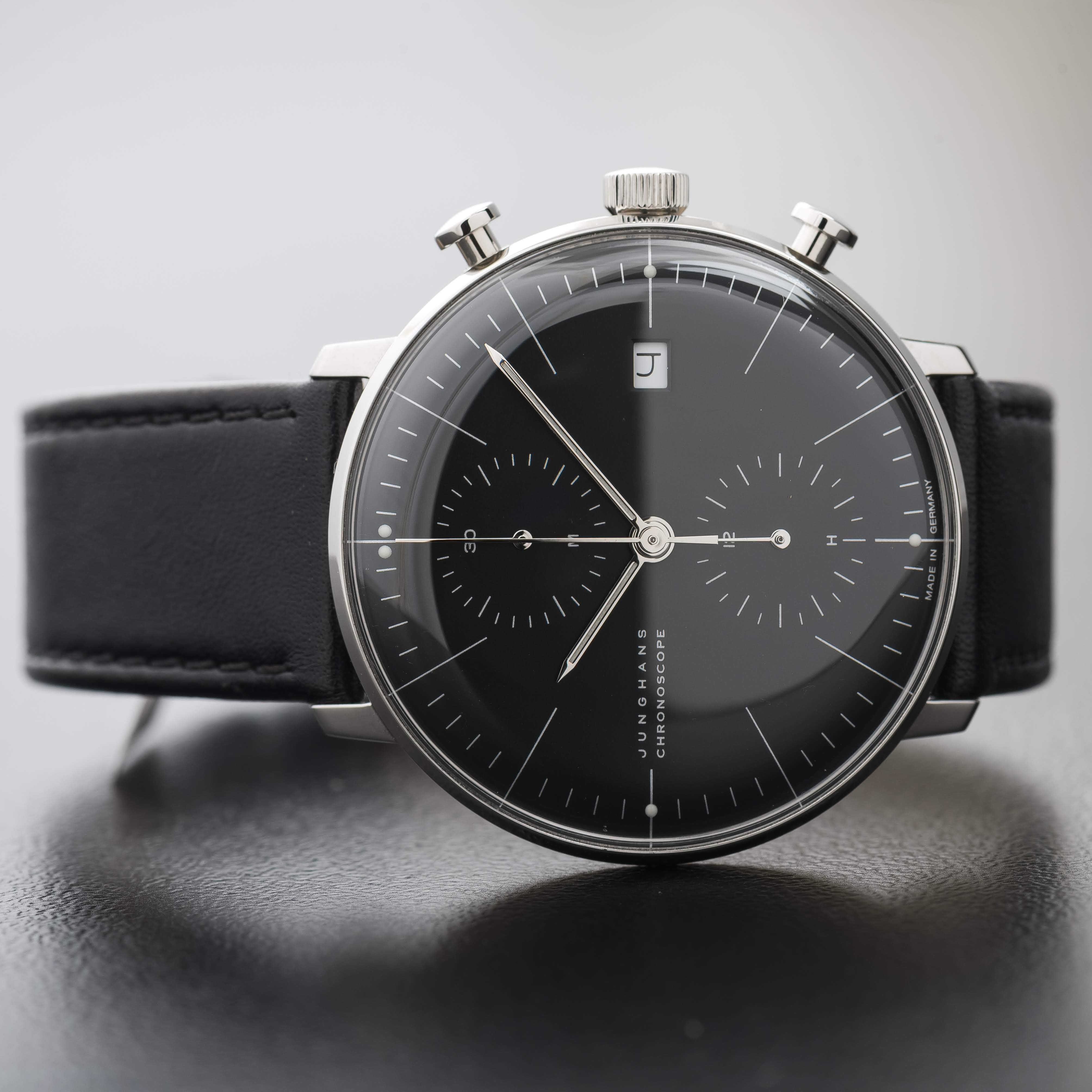 Max Bill Automatic Junghans Max Bill Chronoscope Automatic Chronograph Date Black Watch 027 4601 00