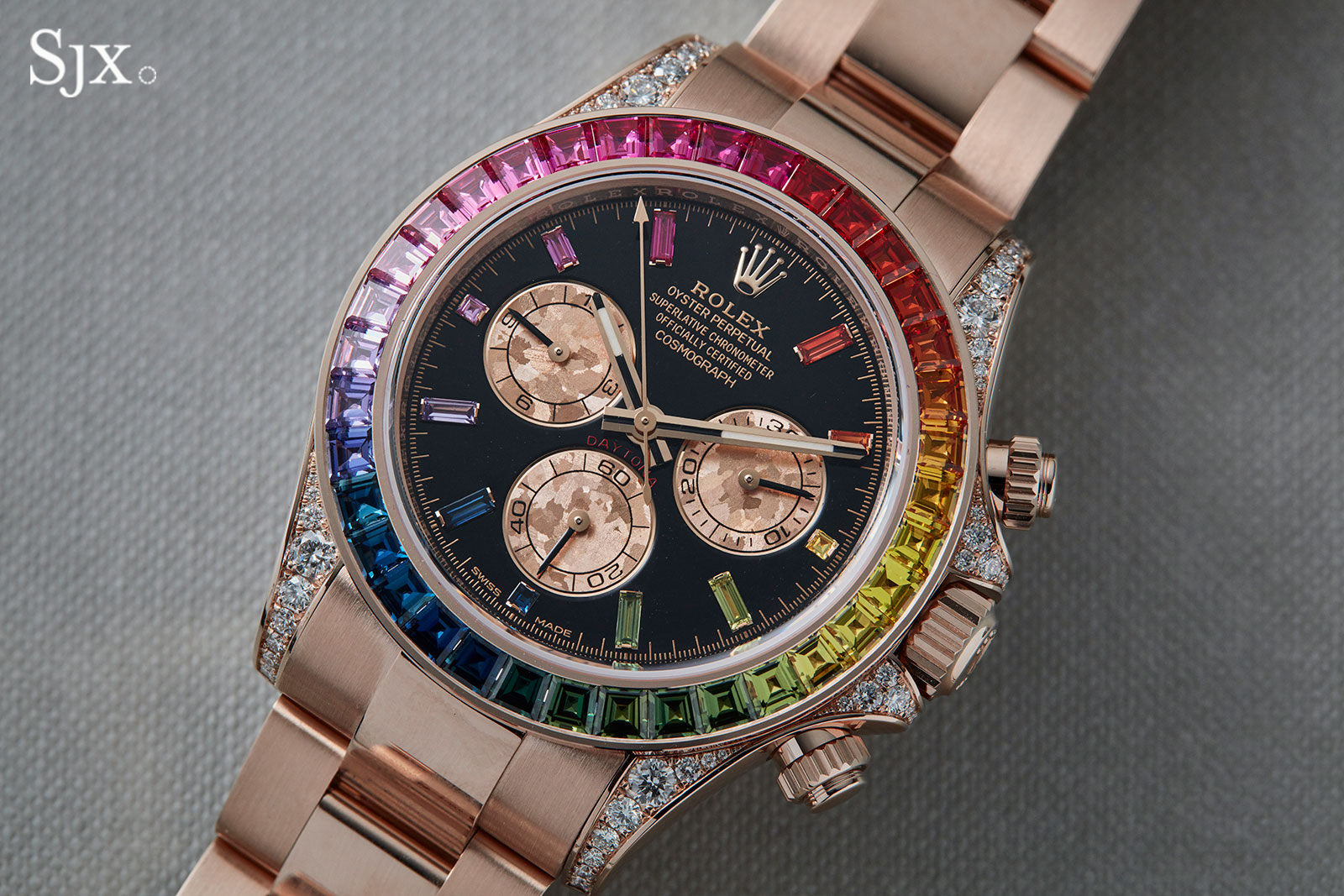 "Rolex Oyster Perpetual Rose Gold Up Close With The Rolex Daytona ""rainbow"" In Everose 