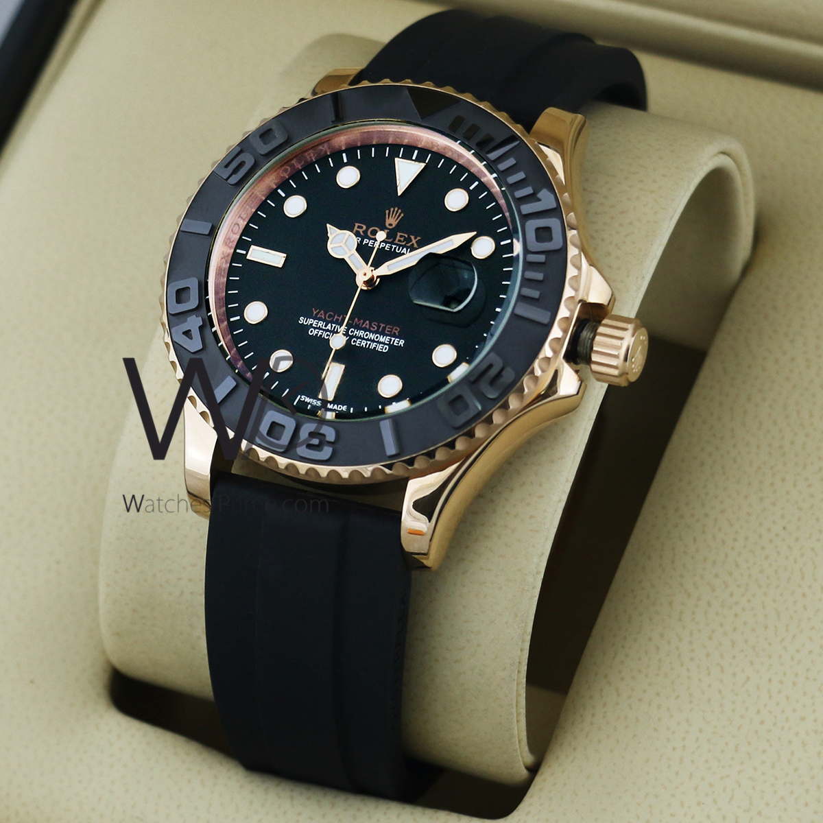 Rolex Rubber Rolex Yacht Master Watch Black With Rubber Black Belt