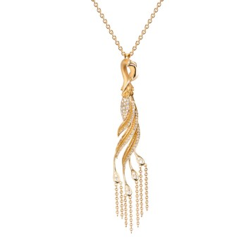 DA13555 010101 - Garzas medium pendant in yellow gold and diamonds
