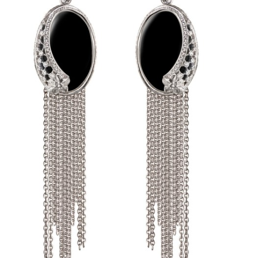 DA13603 020708 - Sierpes maxi earrings in white gold, onyx and diamonds