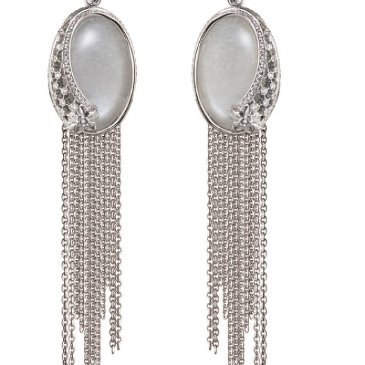 DA13603 029919 - Sierpes maxi earrings in white gold, moonstone and diamonds