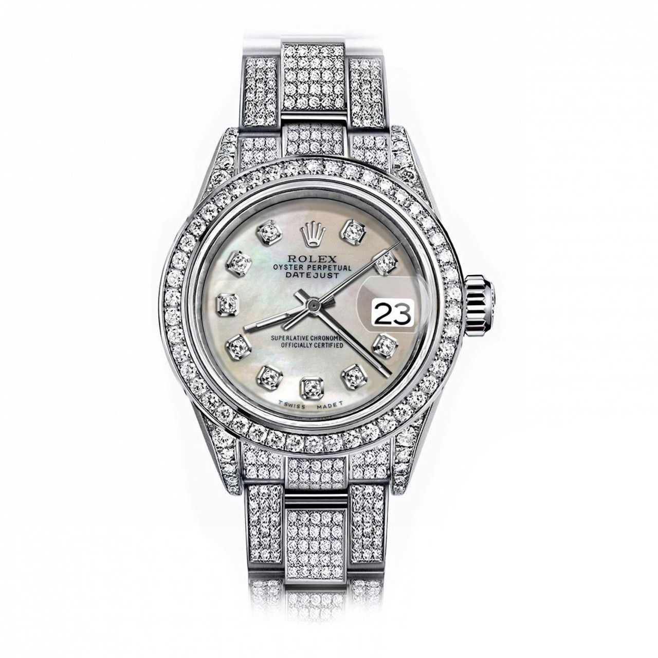 Stainless Rolex Rolex Ivory Pearl 36mm Datejust Stainless Steel Fully Iced Diamond Pave