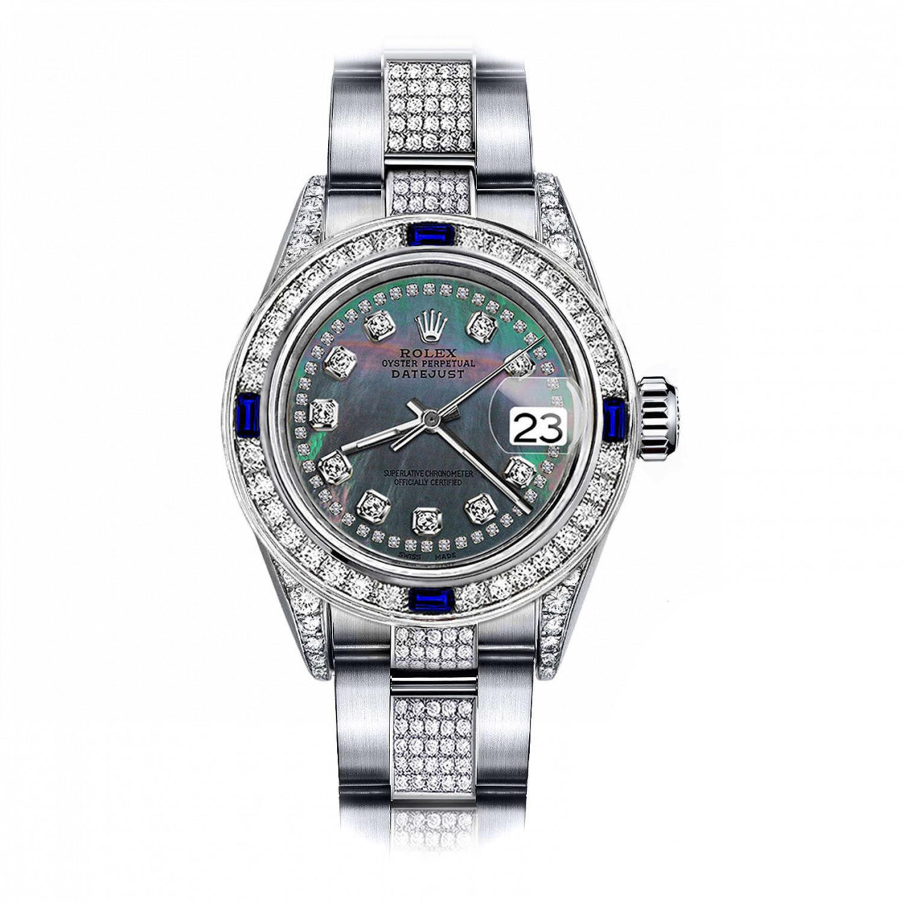 Steel Rolex Rolex Black Pearl String 26mm Datejust Stainless Steel Center Diamonds Lugs Sapphire