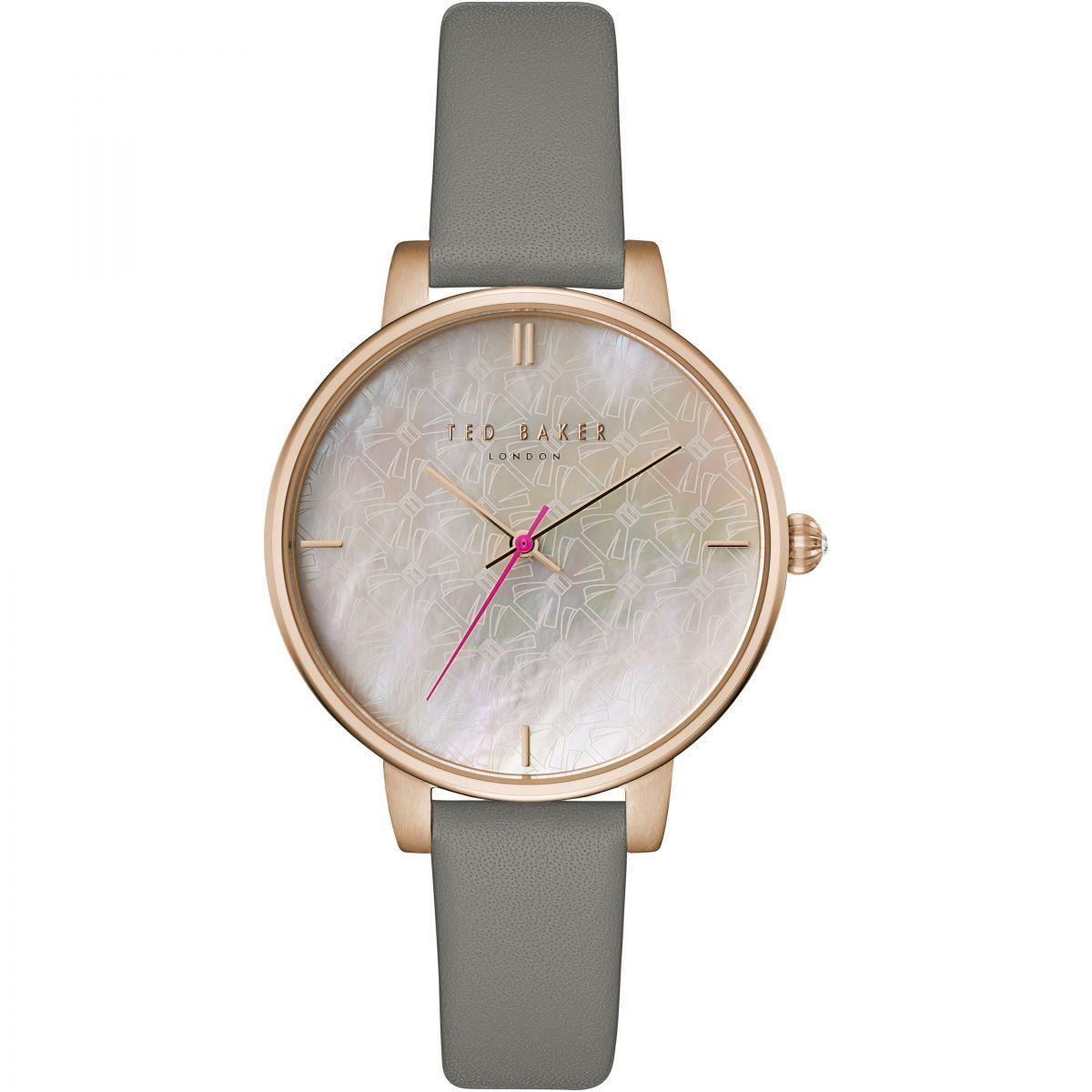 Leather Strap Rose Gold Watch Ted Baker Kate Grey Leather Strap Rose Gold Ladies Watch Tec0025002