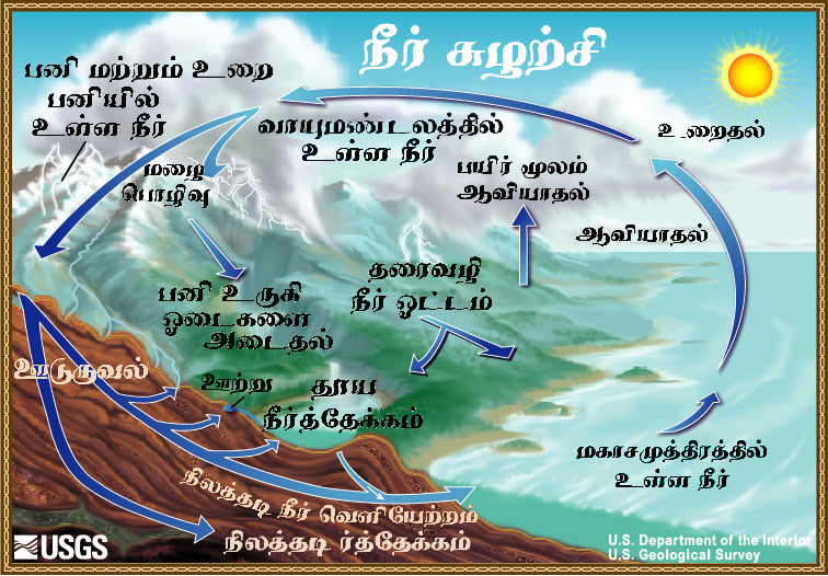 The Water Cycle, Tamil, from USGS Water-Science School