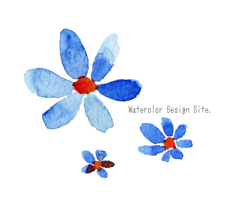 Cute Watercolor Wallpaper 青い花パーツ 171 Watercolor Design Site