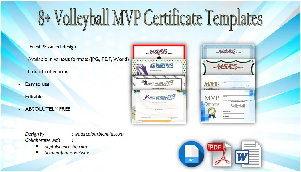 Volleyball MVP Certificate Templates 8+ NEW DESIGNS FREE