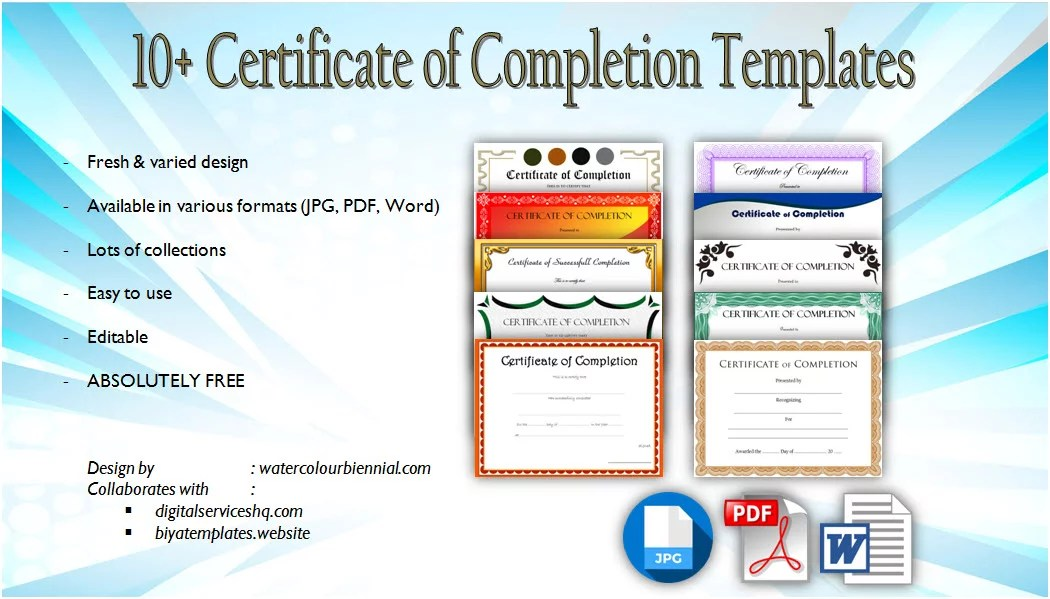 10+ Certificate of Completion Templates Editable