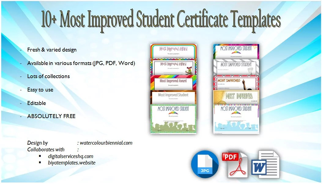 Most Improved Student Certificate 10+ GREAT TEMPLATE DESIGNS
