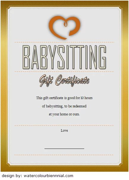 babysitting gift certificate template free