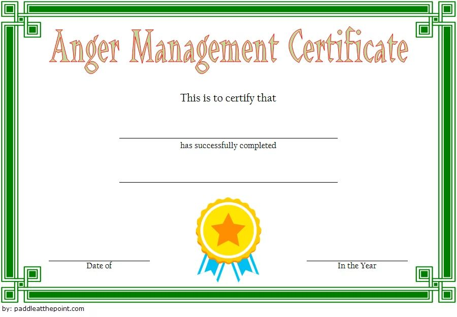 anger management completion certificate