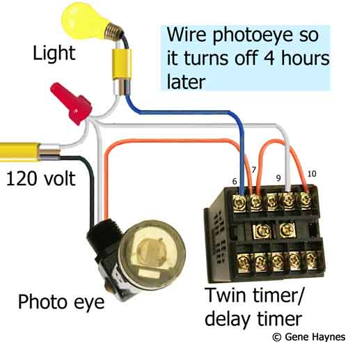 How to wire photoeye so it turns off 4 hours later